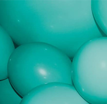 Close up of teal covered balloons